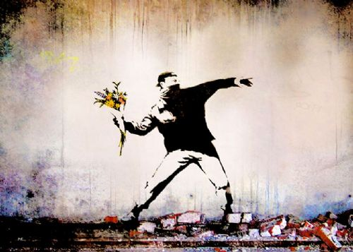 BANKSY - FLOWER THROWER - mural wall canvas print - self adhesive poster - photo print